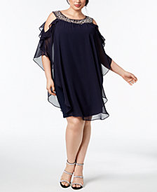 XSCAPE Plus Size Embellished Cold-Shoulder Overlay Dress