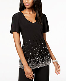 MSK Embellished Split-Sleeve Blouse