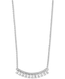 "EFFY® Diamond Baguette Drop 18"" Collar Necklace (1/2 ct. t.w.) in 14k White Gold"