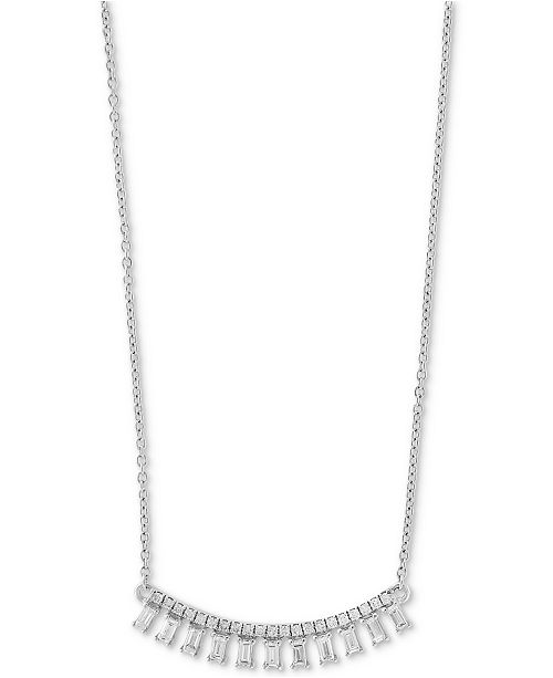 """EFFY Collection EFFY® Diamond Baguette Drop 18"""" Collar Necklace (1/2 ct. t.w.) in 14k White Gold"""