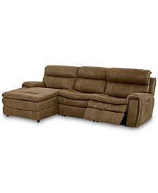 "CLOSEOUT! Leilany 111"" 3-Pc. Fabric Chaise Sectional Sofa with 1 Power Recliner, Power Headrests and USB Power Outlet"