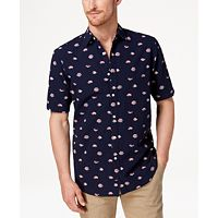 Club Room Mens Fish-Print Shirt Deals