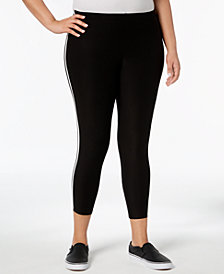 No Comment Trendy Plus Size Side-Striped Leggings