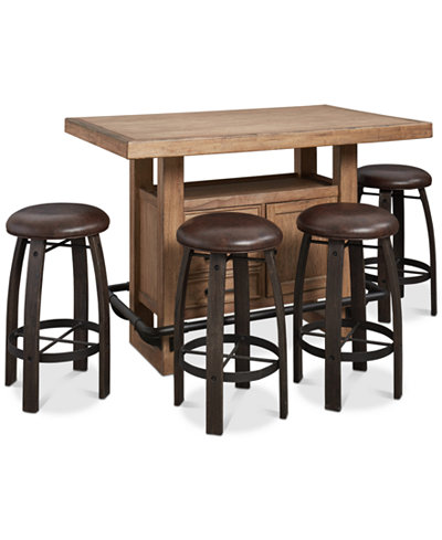 Brewing Collection, 5-Pc. Furniture Set (Storage Bar Table & 4 Whiskey Barrel Bar Stools)