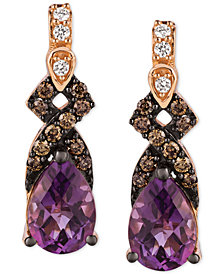 Le Vian Chocolatier® Vibrant Orchid™ Grape Amethyst™ (1-1/4 ct. t.w.) & Diamond (1/6 ct. t.w.) Drop Earrings in 14k Gold