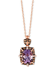 "Le Vian® Cotton Candy Amethyst® (1-1/5 ct. t.w.) & Diamond (1/5 ct. t.w.) 18"" Pendant Necklace in 14k Rose Gold"