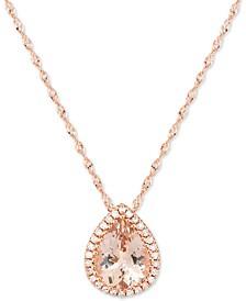 "Morganite (1-1/3 ct. t.w.) & Diamond Accent 18"" Pendant Necklace 14k Rose Gold"