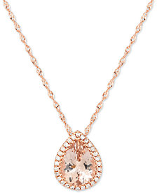 "Morganite (1-1/3 ct. t.w.) & Diamond Accent 18"" Pendant Necklace 14k Rose Gold"