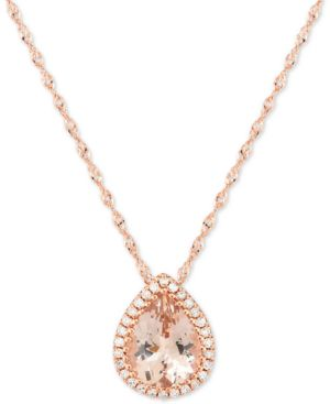"Morganite (1-1/3 ct. t.w.) & Diamond Accent 18"" Pendant Necklace 14k Rose Gold -  Macy's"