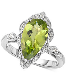 Peridot (3-1/5 ct. t.w.) & Diamond (1/10 ct. t.w.) Ring in 14k White Gold