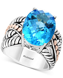 Balissima by EFFY® Blue Topaz Statement Ring (10-5/8 ct. t.w.) in Sterling Silver & 18k Rose Gold
