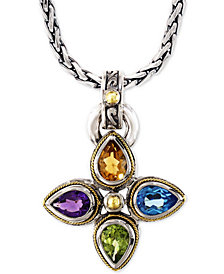 "EFFY® Multi-Gemstone Pendant Necklace (6-3/8 ct. t.w.) 18"" Pendant Necklace in Sterling Silver & 18k Gold"