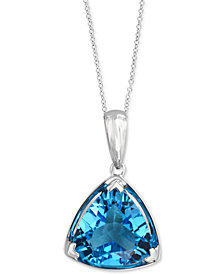 "EFFY® Blue Topaz Trillion 18"" Pendant Necklace (5-9/10 ct. t.w.) in 14k White Gold"