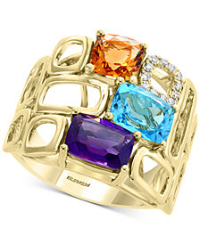 EFFY® Mult-Gemstone (4 ct. t.w.) & Diamond (1/10 ct. t.w.) Statement Ring in 14k Gold