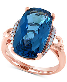 EFFY® London Blue Topaz (10-9/10 ct. t.w.) & Diamond (1/6 ct. t.w.) Ring in 14k Rose Gold