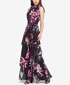 Tahari ASL Tiered Floral-Print Gown