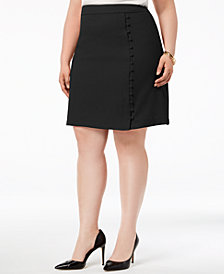 Nine West Plus Size Textured Crepe Button Skirt