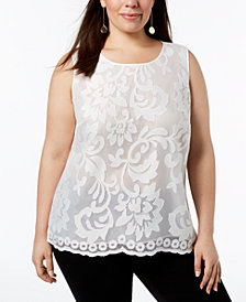 Kasper Plus Size Floral-Lace Shell