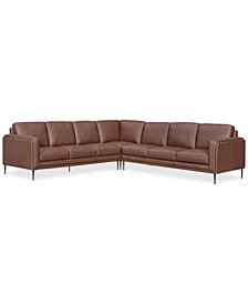 Maida 3-Pc. Leather Sectional with Sofas