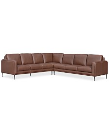 CLOSEOUT! Maida 3-Pc. Leather Sectional with Sofas
