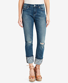 Jessica Simpson Juniors' Arrow Straight-Leg Printed-Cuff Cropped Jeans
