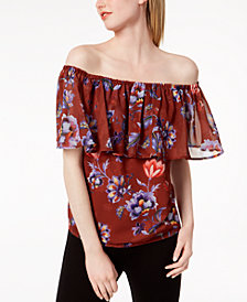 Bar III Printed Off-The-Shoulder Flounce Top, Created for Macy's