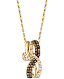"Le Vian Chocolatier® Diamond Loop 18"" Pendant Necklace (1/3 ct. t.w.) in 14k Gold"