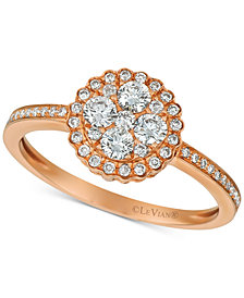 Le Vian® Diamond Cluster Flower Ring (1/2 ct. t.w.) in 14k Rose Gold