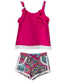 Rare Editions Baby Girls 2-Pc. Crochet-Trim Cotton Tank Top & Shorts Set