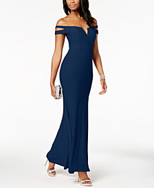 XSCAPE Cold-Shoulder Gown in Missy & Petite Sizes