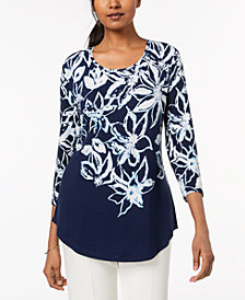 JM Collection Printed Shirttail-Hem Top, Created for Macy's