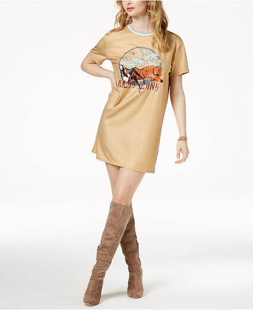 9402bc7cbb4 GUESS Tiger Graphic T-Shirt Dress   Reviews - Dresses - Juniors ...