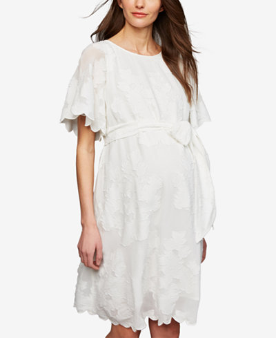 A Pea In The Pod Maternity Flutter-Sleeve Dress