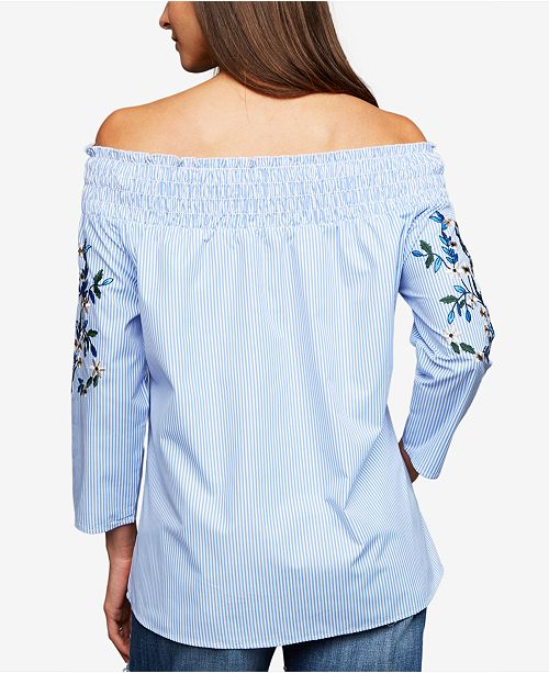 7c9e93bccc7fd A Pea in the Pod Maternity Embroidered Off-The-Shoulder Top ...