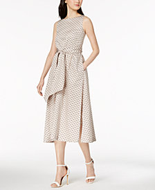 Anne Klein Dot Sash-Tie Dress