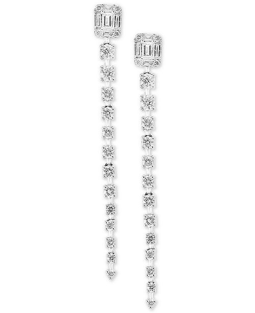 EFFY Collection Pavé Classica by EFFY® Diamond Linear Drop Earrings (7/8 ct. t.w.) in 14k White Gold