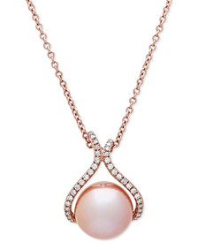"Pink Cultured Freshwater Pearl (13 mm) & Diamond (1/4 ct. t.w.) 18"" Pendant Necklace in 14k Rose Gold"
