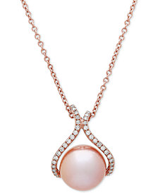 "Honora Style Pink Cultured Freshwater Pearl (13 mm) & Diamond (1/4 ct. t.w.) 18"" Pendant Necklace in 14k Rose Gold"