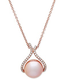 "Honora Pink Cultured Freshwater Pearl (13 mm) & Diamond (1/4 ct. t.w.) 18"" Pendant Necklace in 14k Rose Gold"