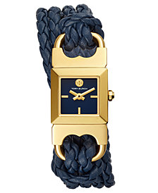 Tory Burch Women's Double T-Link Navy Leather Double Wrap Strap Watch 18x18mm