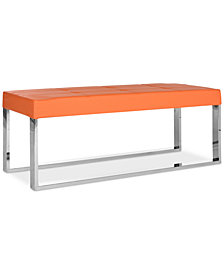 Fabre Faux Leather Bench, Quick Ship