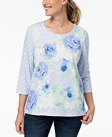 Alfred Dunner Petite Daydreamer Embellished Printed Top