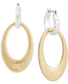 Lucky Brand Two-Tone Interlocking Hoop Drop Earrings