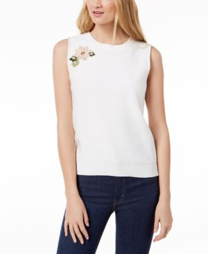 Image of 525 America Petite Cotton Blossom Floral-Applique Knit Sleeveless Top, Created for Macy's