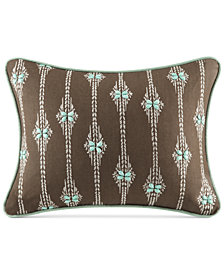 """Harbor House Miramar Faux-Linen Embroidered Beaded 12"""" x 16"""" Oblong Decorative Pillow"""