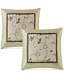 "Madison Park Serene Faux-Silk 20"" Square Embroidered Pillow Pair"