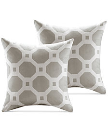 "Madison Park Charis 20"" Square Geometric Jacquard Pair of Decorative Pillows"