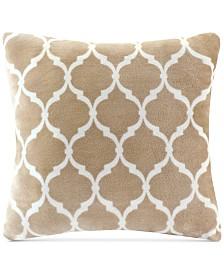 "Madison Park 20"" Square Ogee-Print Microlight Plush Decorative Pillow"