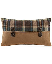 "Woolrich Hadley Plaid Faux-Suede 12"" x 20"" Pieced Oblong Decorative Pillow"