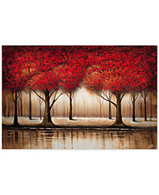 "Rio 'Parade of Red Trees' 35"" x 47"" Canvas Wall Art"